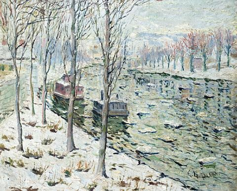 canal scene in winter by ernest lawson