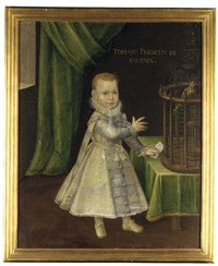 portrait of tommaso francesco, prince of carignano, as a child, full-length, in a silver embroidered coat and a ruff, a parrot in a cage on a table beside him, before a green curtain by jan kraek