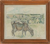 field landscape with grazing cow (+ field landscape with grazing horses; 2 works) by lauritz martin mikkelsen