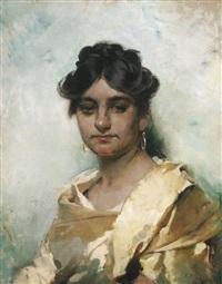 porträt einer jungen römerin mit goldenen ohrringen by cecil van haanen