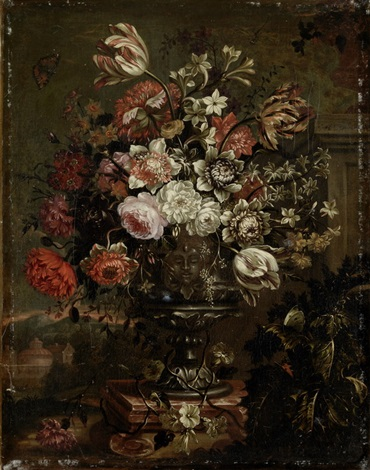 prächtiges blumenbouquet in prunkvase by gaspar pieter verbruggen the younger
