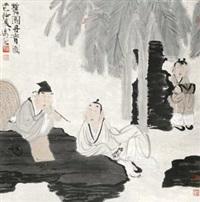 蕉园丹青图 立轴 设色纸本 by xu lele