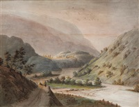 prospect of maaböe dalen i eifiord i hardanger, bergens stift by thomas fearnley