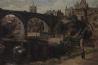 river scene with figures and a rowing boat, knaresborough by alfred armitage