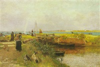 an estuary scene with a mother and child and other figures by a lock by martin snape