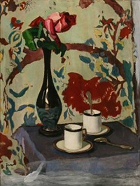 still life with two cups and a vase with a rose on a table by pál jávor