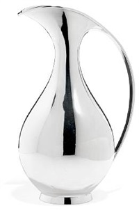 water pitcher with curving handle by kay fisker