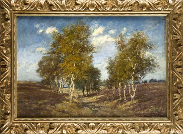 von birken gesäumter weg in sommerlicher heidelandschaft by eugène galien laloue