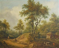 country landscape with figures on a winding path by charles towne the younger