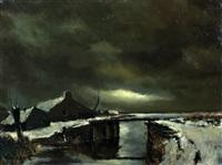 boerderij in de sneeuw bij maanlicht by toon koster