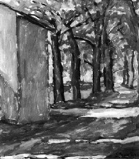 von bäumen gesäumter weg im sonnenschein by giacomo zanolari
