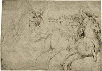 mounted soldiers in the midst of battle by francesco (da gubbio) allegrini