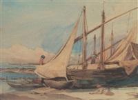 barques et voiliers sur la grève by théodore valerio
