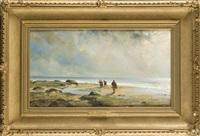 stimmungsvolle strandpartie mit krebs- und muschelsammlern by henri lehon