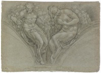 a design for a spandrel with a nymph and a satyr by paolo farinati