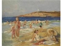 strandszene by roger van de pol