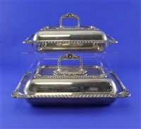 entree dishes and covers (pair) by atkin brothers