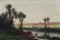 riverbank, france by charles antoine lenglet
