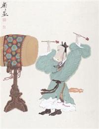 人物 镜片 设色纸本 by xu lele