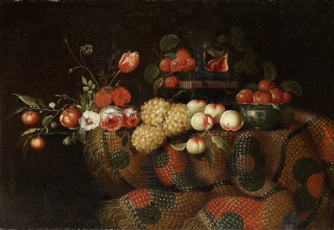 grosses blumen und früchtestillleben auf einer tischplatte mit teppich by francesco fieravino il maltese