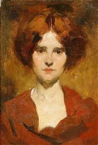 porträt einer jungen dame mit rotem haar by jean de la hoese