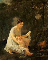 mutter und kind in waldlandschaft by marguerite gérard