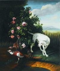 englischer jagdhund (pointer) beim aufstöbern von fasanen by johann christian von mannlich