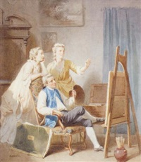 artist at his easel with two women by gustave david