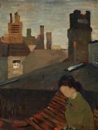 a woman on a rooftop in copenhagen by carl fischer
