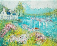 boats in a colorful harbor by yolande ardisonne