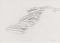 zwei bildhauerzeichnungen (holzstapel, skulptur) (2 works) by rudolf wachter