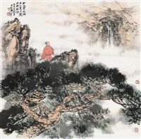 松风泉水两不分 (landscape) by liang shunian