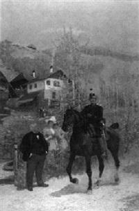 dragoner zu pferd in einer kleinen ortschaft by theodor volmar
