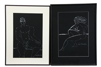 figure studies of seated nude man (2 works) by leo brooks
