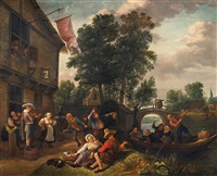 peasants making merry in front of a tavern by jan steen