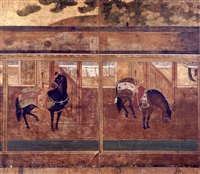 a horse in a stable by japanese school (17)