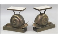 snail form side tables (pair) by la forge française
