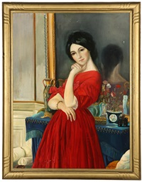 portrait of a woman in a red dress by joe duncan gleason