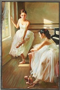 two ballet girls are preparing for training by alexander akopov