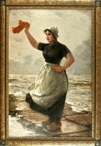 willkommen (auf der mole wartende, mit einem tuch winkende junge holländische fischersfrau) by otto theodore gustav lingner