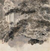 观瀑图 (viewing waterfall) by liang shunian