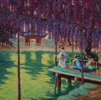 japanese women on a bridge under a wisteria by georges victor laurent dantu