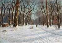 snowy forest road with a woman carrying firewood by hans hilsoe