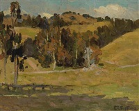 trees amongst rolling hills, california by e.charlton fortune