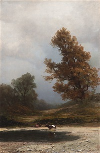 cows watering in a landscape (california?) by carl von perbandt