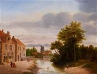 landskap med byväg, flod och väderkvarn by frederick willem del campo
