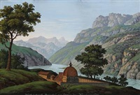 walfahrtsort gangotri am ganges in vorderindien (landscape from india) by joseph lexa