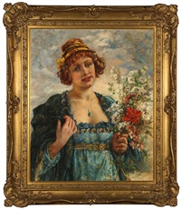 portrait of a woman holding flowers by maria (philips-weber) weber