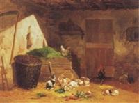 stallinneres mit kaninchen und hühnern by noel saunier