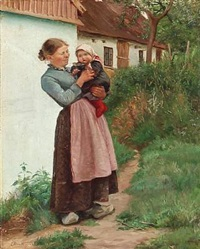 a woman with her child in front of a farm house by emilie (caroline e.) mundt
